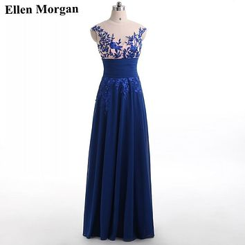 Royal Blue Corset Chiffon Prom Dresses 2017 Elegant Party Long Sexy Red Carpet Cheap Stock Formal Evening Gowns For Women Wear