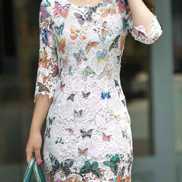 White Butterfly Print Lace Dress