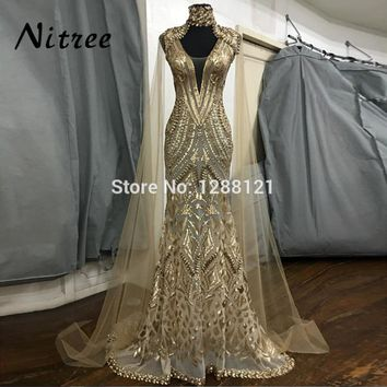 African Gold Sequins Evening Dresses With Jacket Dubai Turkish Aibye Gowns Galajurk Mermaid Formal Party Abendkleider Prom Dress