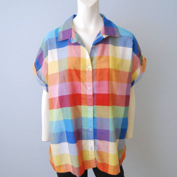 Vintage 1980's Rainbow Plaid Button Down Blouse Shirt Top Women's Plus Size Short Sleeve Lightweight Summer Colorful Patterned Shirt