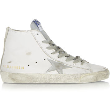 Golden Goose Deluxe Brand - Francy distressed suede-paneled leather high-top sneakers