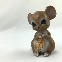 Adorable Little Mouse holding Wheat Sweet Big Eyed Mouse Ceramic Figurine Vintage Josef Originals Kawaii Mouse Collectible Cute Animal Decor