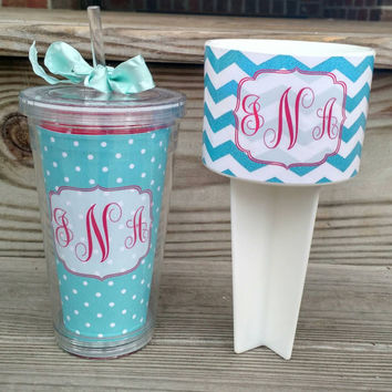 Monogrammed Set Beach Spiker and Insulated Tumbler~ Personalized cup holder ~ Monogram ~ Monogram Spiker