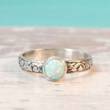 opal ring sterling silver floral band with a 6 mm lab opal engagement promise - Opal Wedding Ring