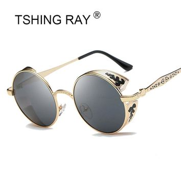 e20642ff85 TSHING RAY Vintage Round Carving Frame Steampunk Sunglasses Men