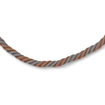 Twisted Mesh Necklace in Stainless Steel - Magnetic Clasp