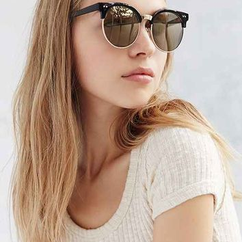 Mirrored Oversized Half-Frame Sunglasses