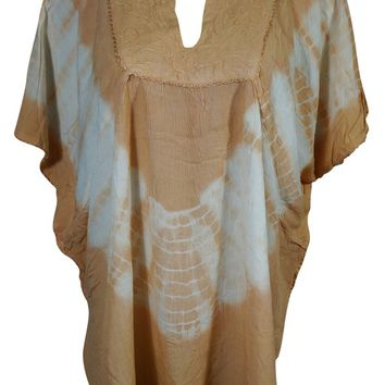 Beige Kimono Loose Top Summer Fashion Bohemian Style Peasant Blouse