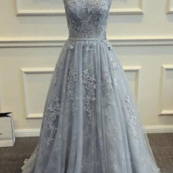Silver Gray Lace Applique Beading Tulle Sleeves Floor Length A Line Evening Dresses Long Formal Wedding Party