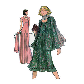 VOGUE DRESS PATTERN Very Easy Vogue 9626 Maxi Pullover Knit Dress Tent Dress & Cardigan Jacket Size 14 UNCuT 1970s Womens Sewing Patterns