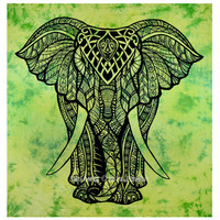 Green Tie Dye Valentina Harper Ruby The Asian Elephant Tapestry on RoyalFurnish.com