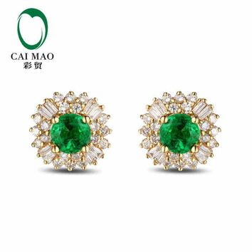 18KT Yellow Gold 2.0 ct Natural Emerald 1.20 ct Full Cut Diamond Stud Earrings