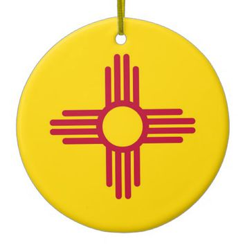 Ornament with flag of New Mexico
