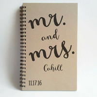 Save the date, Customized wedding journal, 5X8 spiral notebook, personalized, brown kraft white, Mr. and Mrs., wedding, bridal party gift