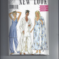 Simplicity New Look 6929 Pattern for Misses Nightgown, Robe, & Pajamas, Size 6 - 16, FACTORY FOLDED and UNCUT, From 2000