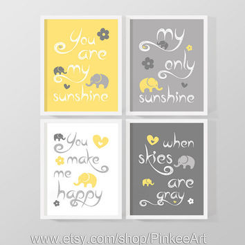 you are my sunshine print for kids, my sunshine baby room art gray yellow, boy nursery quote print, my only sunshine art, baby shower gift