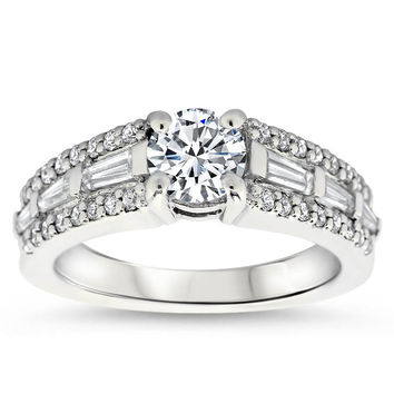 Tapered Baguette Diamond Engagement Ring Setting - Happy