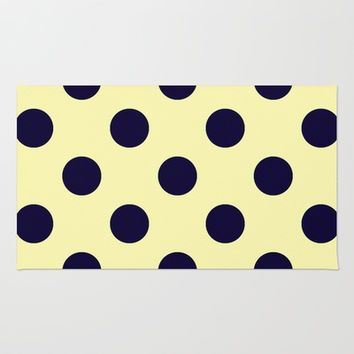 Vintage Navy and Cream Polka Dots Area & Throw Rug by Kat Mun | Society6