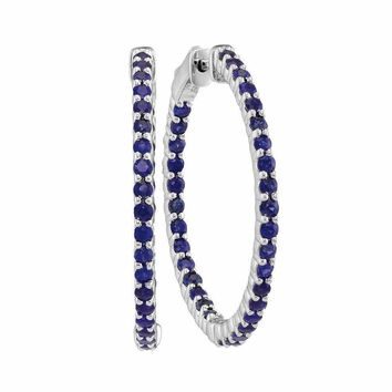 14kt White Gold Women's Round Natural Blue Sapphire Hoop Earrings 2-1-3 Cttw - FREE Shipping (USA/CAN)