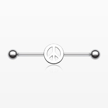 Peace Sign Industrial Barbell