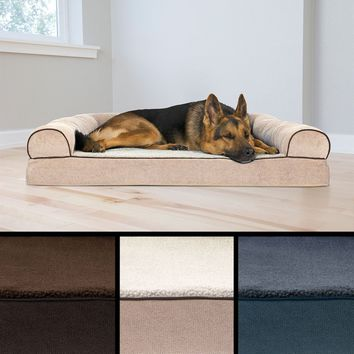 FuHaven Faux Fleece & Chenille Soft Woven Orthopedic Sofa Bed Pet Bed Dog Couch