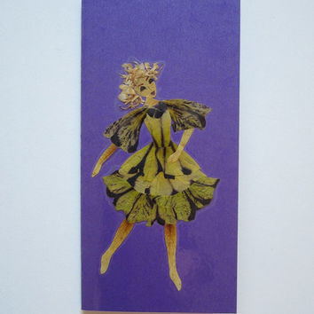 "Handmade unique greeting card ""Music in my head"" - Decorated with dried pressed flowers and herbs - Original art collage."