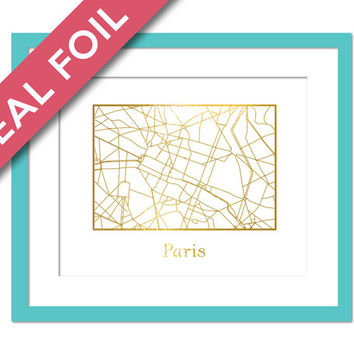 Paris Map - Gold Foil Print - France Street Map Poster - Foil Map - Travel Poster - Paris Wall Art - French Map Wall Decor - Paris Art
