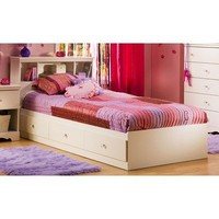 Crystal Collection Twin Storage Bed Pure White