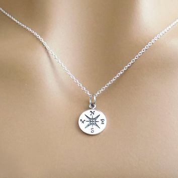Sterling silver, Compass, Necklace, Lovers, Best friends, Mom, Sister, Gift, Accessory, Jewelry