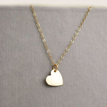 Delicate Heart Necklace, 14k Gold Filled Jewelry, Mom Bridesmaids Gift, Minimalist, Small, Solitaire, simple tiny Everyday Jewelry just1gold