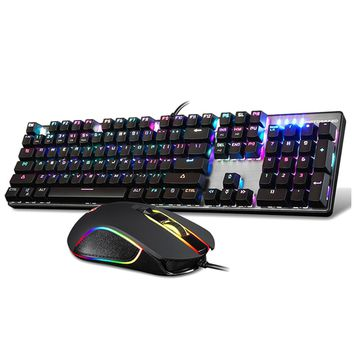 MOTOSPEED CK888 USB Mechanical Backlit Gaming RGB Keyboard Keypad Keycaps +2400DPI Mouse Set for PC Desktop Laptop LOL Overwatch