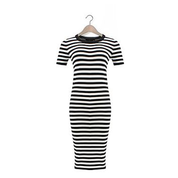 Women's Striped Black Vintage Dress
