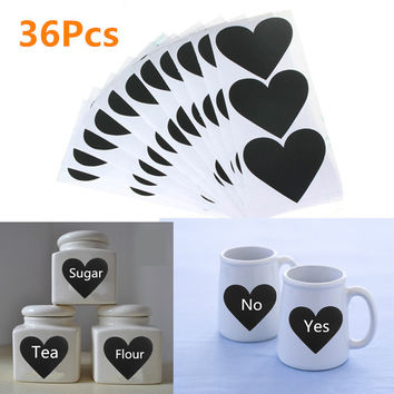 36pcs Removable Heart Pattern Chalkboard Label Chalk Pen Stickers Wall Kitchen Cup Bottle Decor Sticky Decal Gift