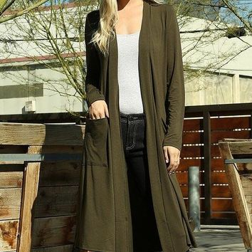 Temperatures Dropping Long Olive Green Cardigan Duster