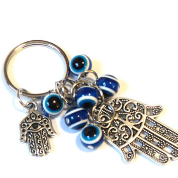 Hamsa Evil Eye Keychain Bag Charm Keyring Protection Yoga Hand of Fatima Hamsa Accessories Christmas Stocking Stuffer Gift For Her or Him