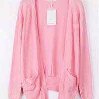 Pink Sweater Cardigan with pockets