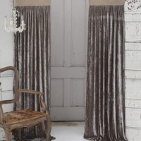 Luscious Silk Velvet with Jute Header Window Curtain - Home Decor | Couture Dreams