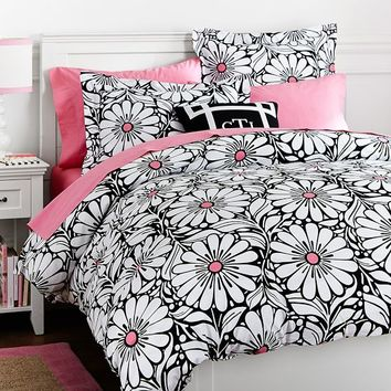Daisy Dot Duvet Cover + Sham, Black
