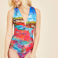 Lagoon-Side Lounge Reversible Swimsuit | Mod Retro Vintage Bathing Suits | ModCloth.com