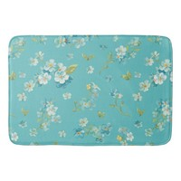 teal,peacock,white cherry,blossom,pattern,trendy, bath mats