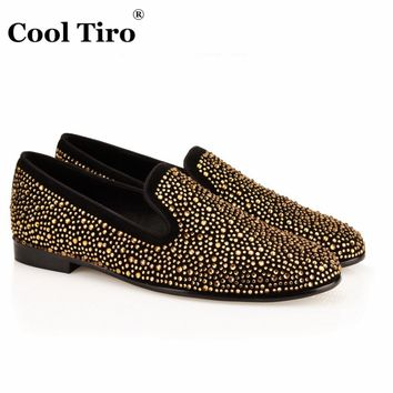 COOL TIRO Hot Sale Gold diamond Fashion Men Loafers Casual Flat Leisure Smoking Loafers