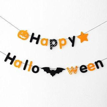 DCCKDZ2 200cm/pcs holloween banner fabric Happy Halloween Skull garland photo background decorative photo props HalloweenParty