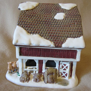 American Greetings Ingleby Farms Lighted Porcelain  Barn, Christmas Village, Holiday Display, Decoration, Country Christmas, Festive, Fun