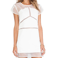 Pink Stitch Mercury Dress in White