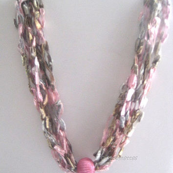ON SALE Boho Chic Crochet Necklace Ladder Yarn Necklace Pink Gray Casual Necklace Trellis Ribbon Crocheted Jewellry
