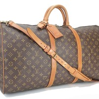 Authentic LOUIS VUITTON Keepall Bandouliere 60 Monogram Canvas Duffel Bag #28125