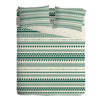 Allyson Johnson Teal Aztec Sheet Set Lightweight