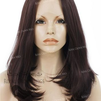 """17"""" Heat Safe Synthetic Lace Front """"Victoria"""" Bob with Straight Texture in Dark Auburn"""