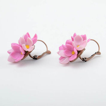 Handmade small festive earrings with tender pink cold porcelain lilac flowers