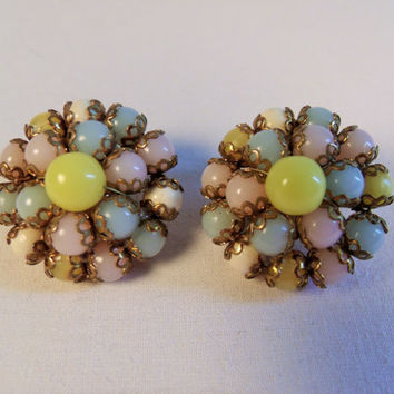 Multi Color Bead Clip On Earrings, 1950s Vintage Jewelry